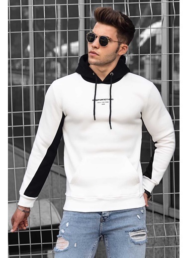 Madmext   Kolu Şeritli Kapüşonlu Sweatshirt 4728 Beyaz